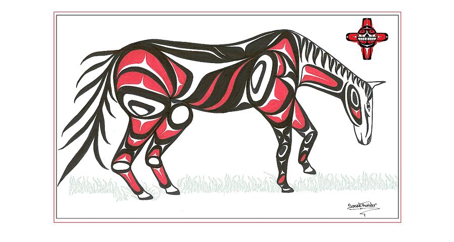 Horse Grass Sun Red Drawing  - Horse Grass Sun Red Fine Art Print