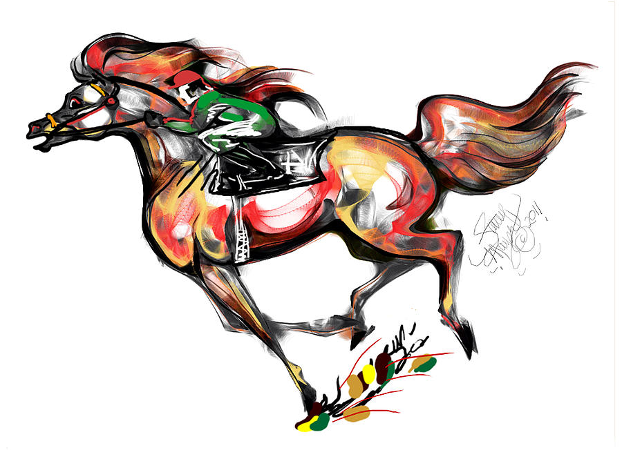 Horse Racing In Fast Colors Drawing  - Horse Racing In Fast Colors Fine Art Print