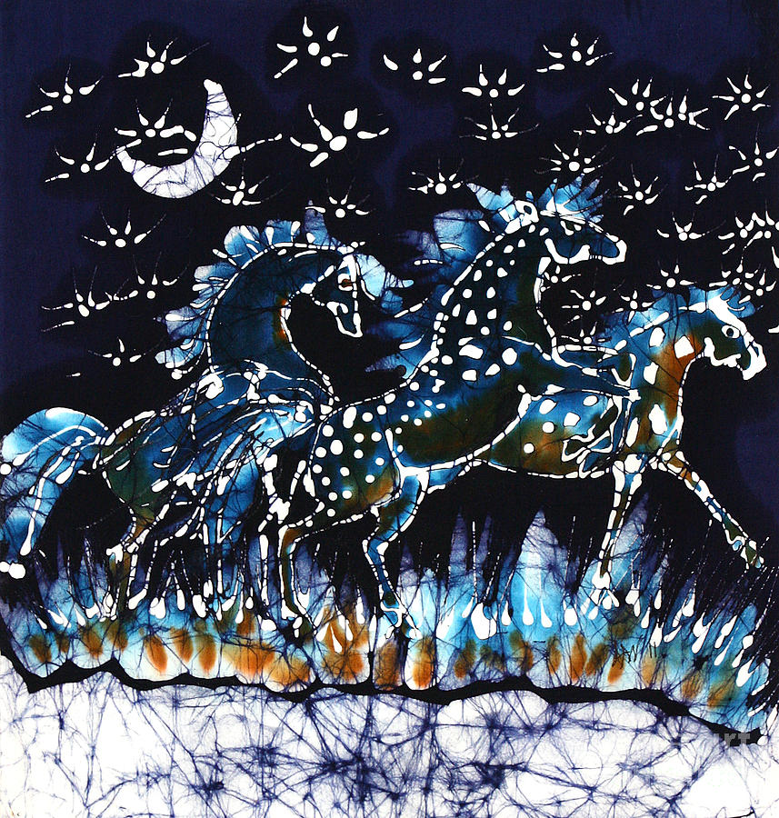 Horses Frolic On A Starlit Night Tapestry - Textile
