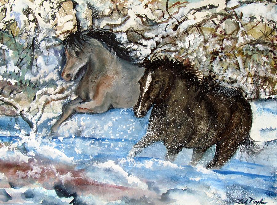 Horses Running In The Snow Painting  - Horses Running In The Snow Fine Art Print