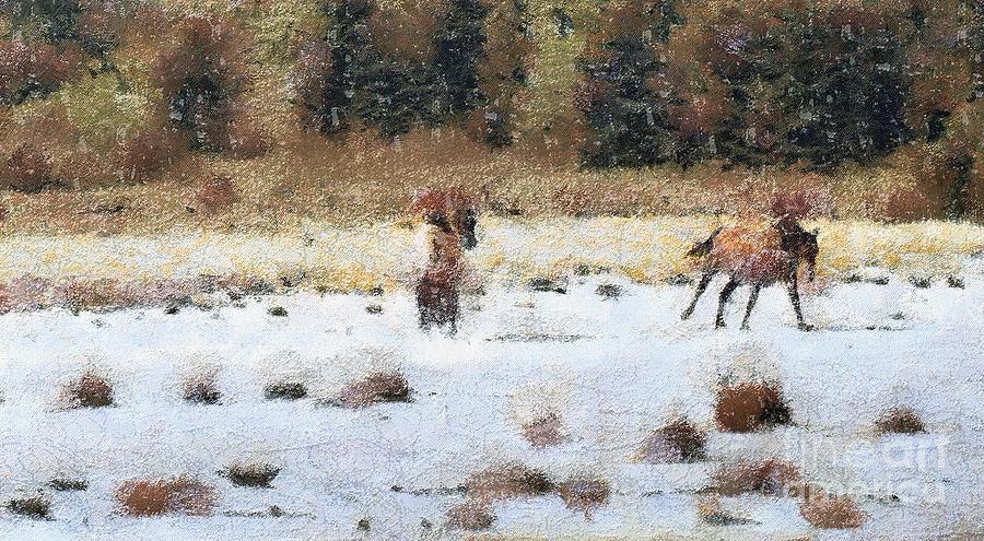 Horses Running Painting