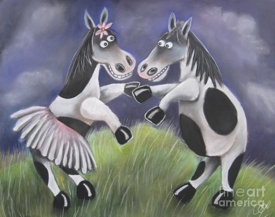 Horsing Around Pastel  - Horsing Around Fine Art Print