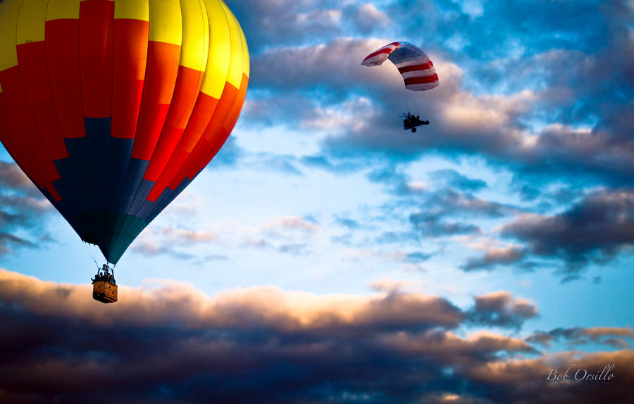Hot Air Balloon And Powered Parachute Photograph  - Hot Air Balloon And Powered Parachute Fine Art Print