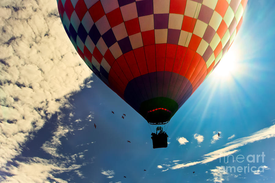 Hot Air Balloon Eclipsing The Sun Photograph  - Hot Air Balloon Eclipsing The Sun Fine Art Print