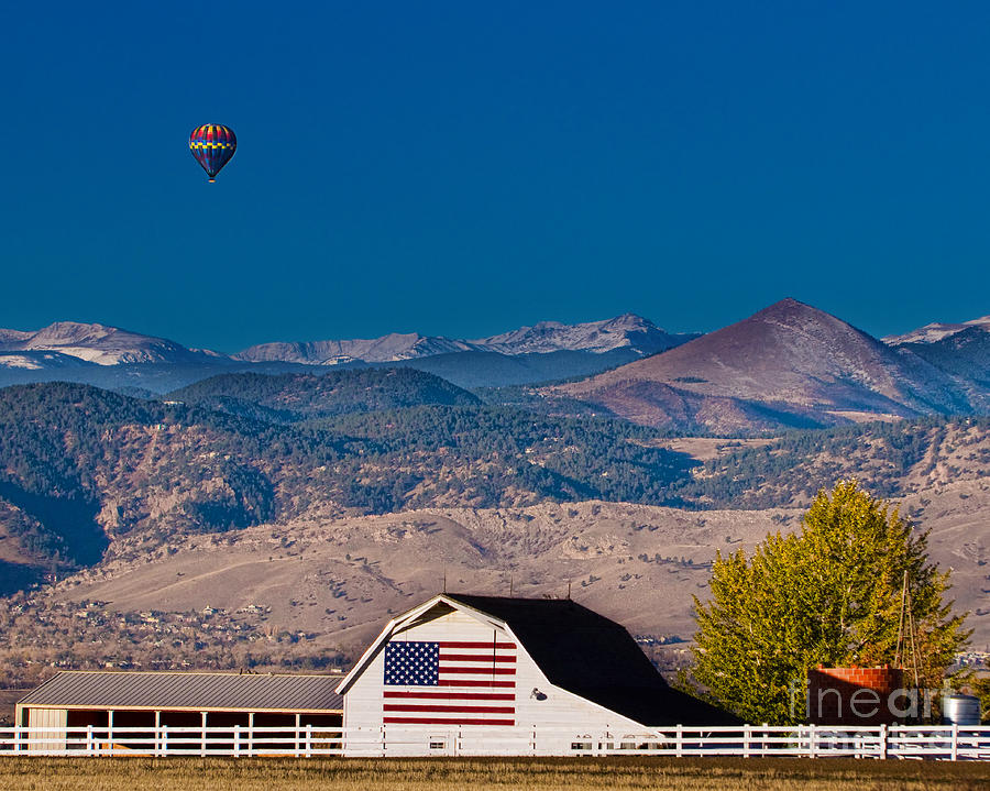 Hot Air Balloon With Usa Flag Barn God Bless The Usa Photograph  - Hot Air Balloon With Usa Flag Barn God Bless The Usa Fine Art Print