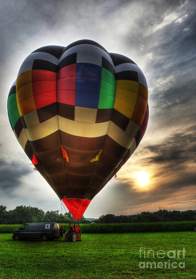 Hot Air Ballooning At Dusk - Hot Air Balloon  Photograph