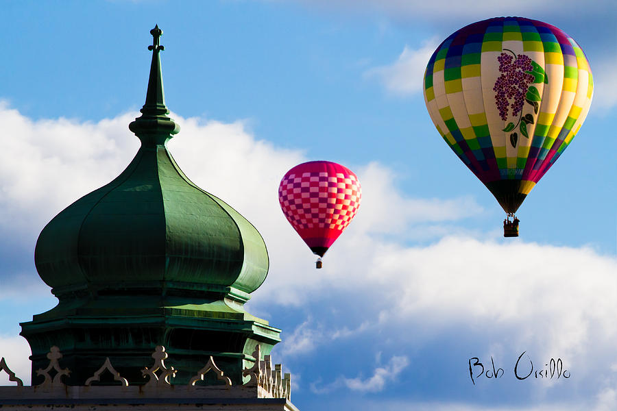 Hot Air Balloons Float Past Mosque Lewiston Maine Photograph  - Hot Air Balloons Float Past Mosque Lewiston Maine Fine Art Print