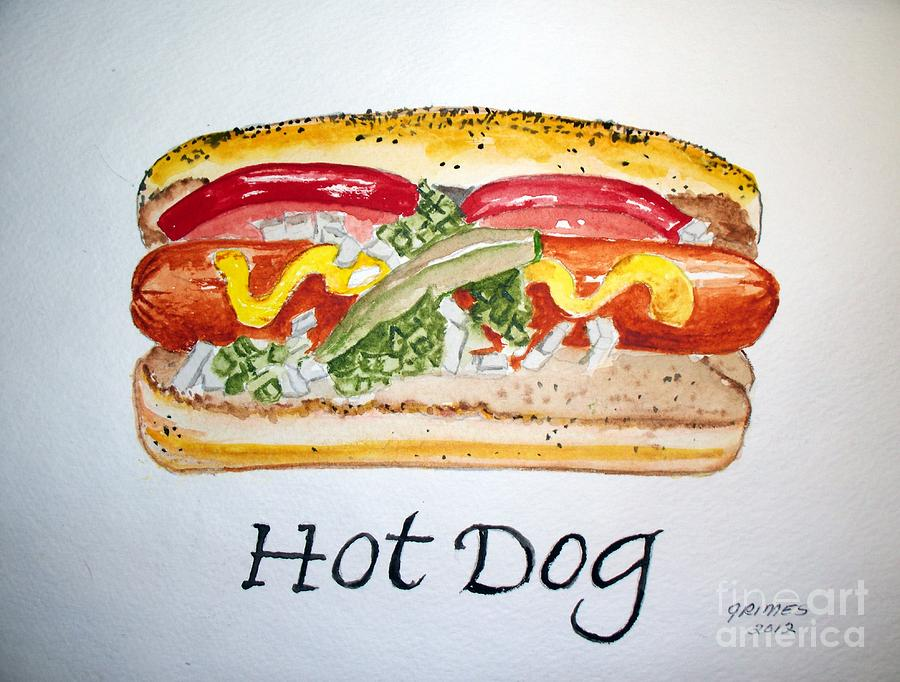 Hot Dog Painting  - Hot Dog Fine Art Print