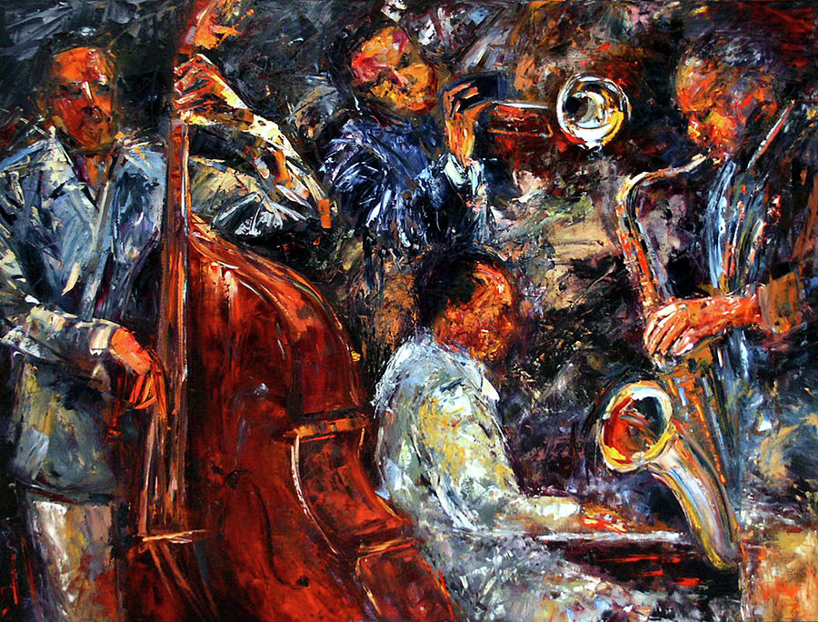 Hot Jazz Three Painting  - Hot Jazz Three Fine Art Print