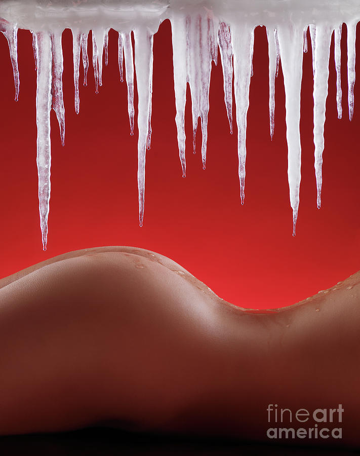 Hot Naked Woman Body Under Melting Icicles Photograph  - Hot Naked Woman Body Under Melting Icicles Fine Art Print