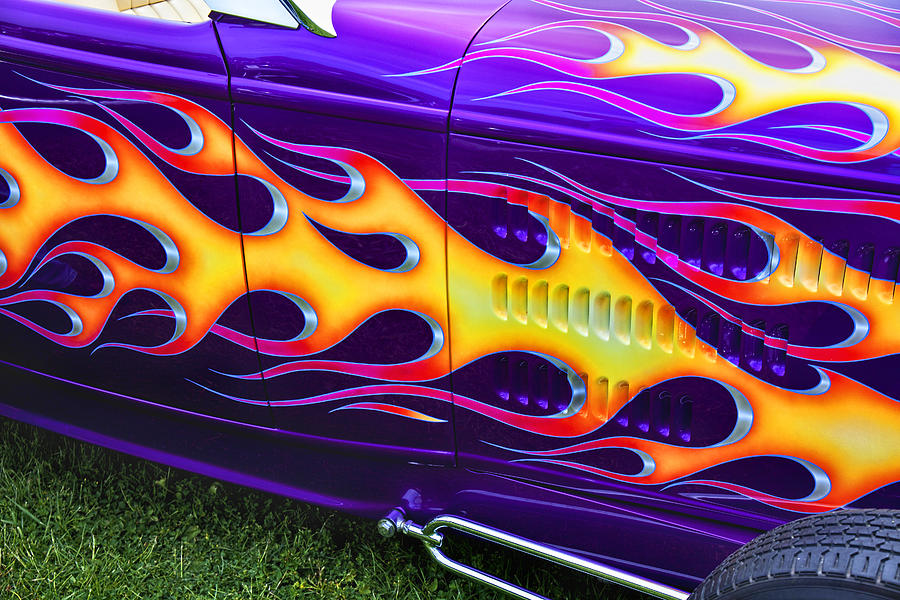 Hot Rod With Custom Flames Photograph