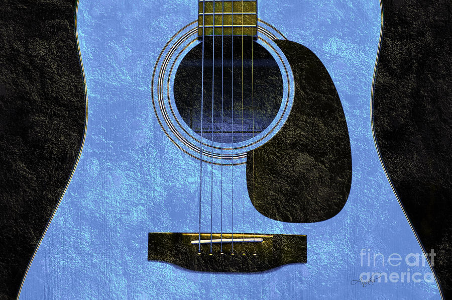 Hour Glass Guitar Blue 1 T  Photograph  - Hour Glass Guitar Blue 1 T  Fine Art Print