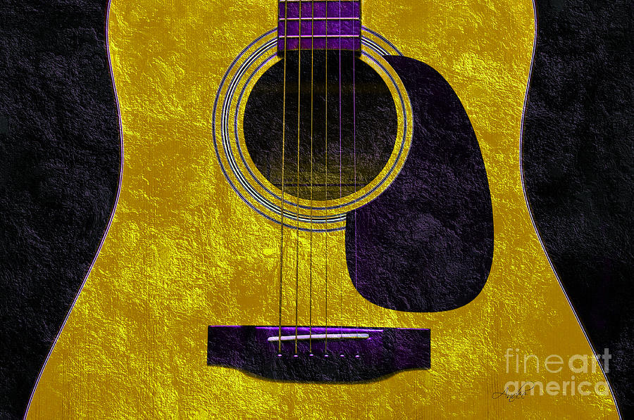 Hour Glass Guitar Gold 2 T Photograph  - Hour Glass Guitar Gold 2 T Fine Art Print