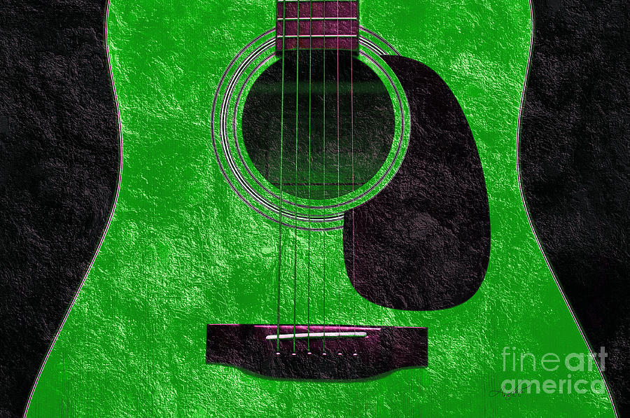Hour Glass Guitar Green 4 T Photograph  - Hour Glass Guitar Green 4 T Fine Art Print