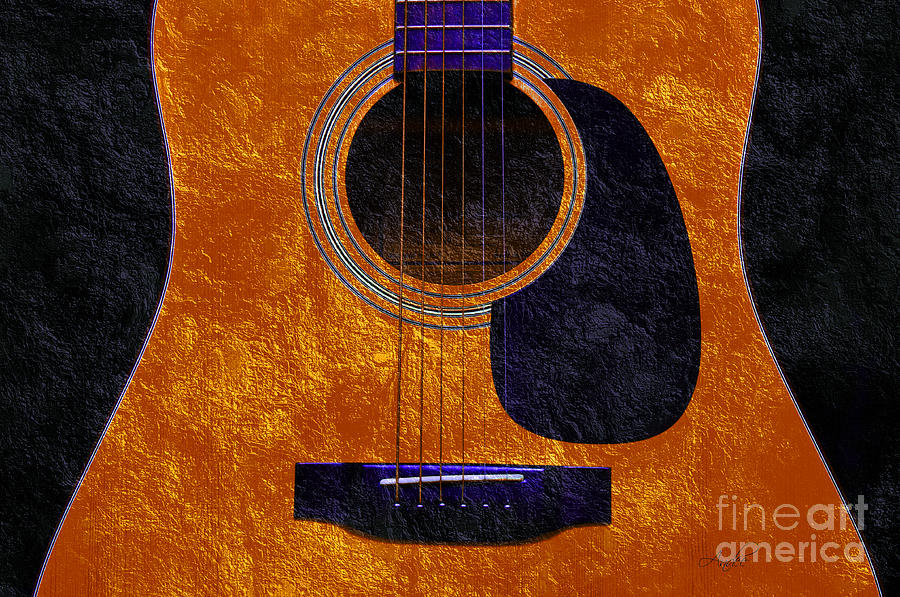 Hour Glass Guitar Orange 1 T Photograph  - Hour Glass Guitar Orange 1 T Fine Art Print