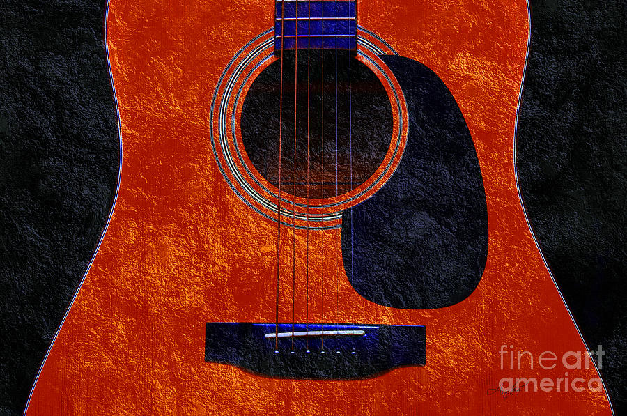 Hour Glass Guitar Orange 2 T Photograph  - Hour Glass Guitar Orange 2 T Fine Art Print