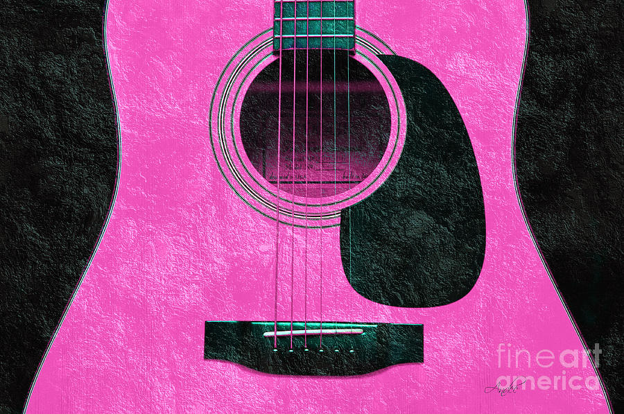 Hour Glass Guitar Pink 2 T Photograph  - Hour Glass Guitar Pink 2 T Fine Art Print
