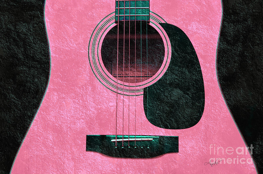 Hour Glass Guitar Pink 3 T Photograph  - Hour Glass Guitar Pink 3 T Fine Art Print