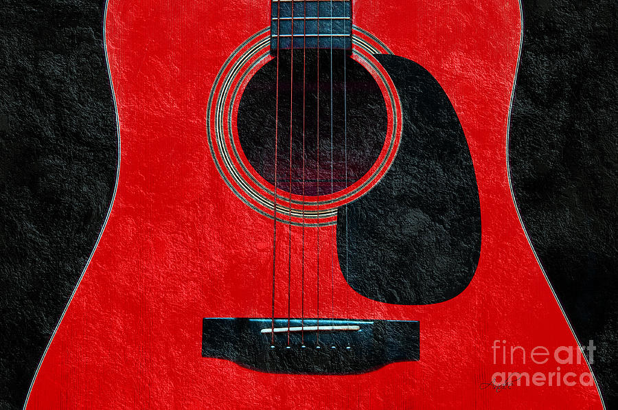 Hour Glass Guitar Red 1 T Photograph  - Hour Glass Guitar Red 1 T Fine Art Print
