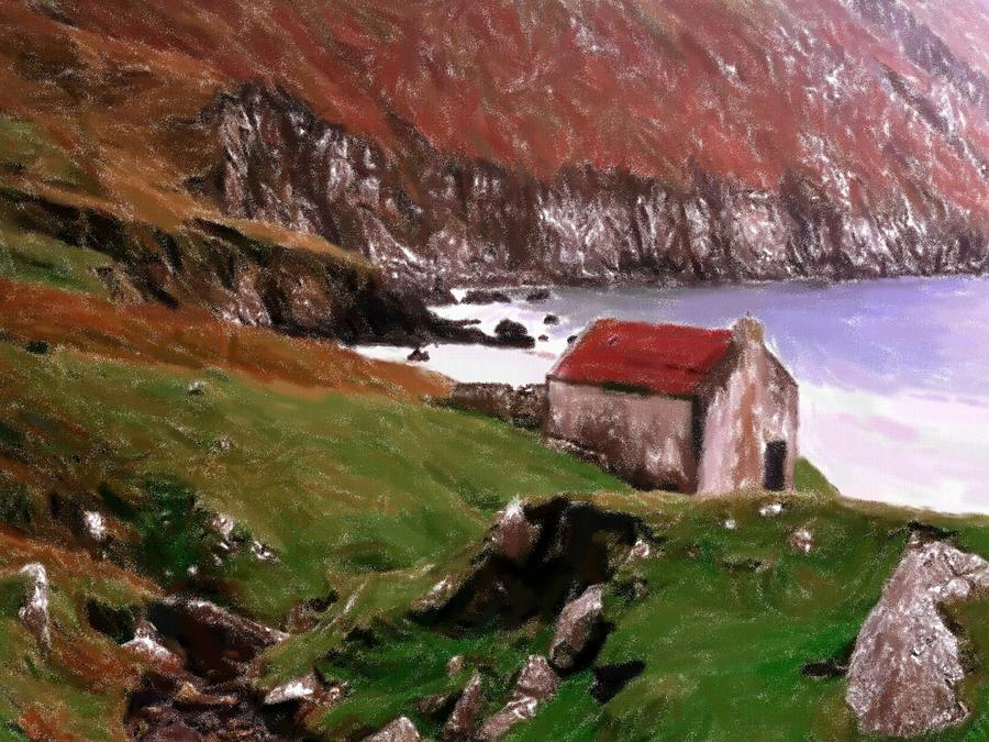 House At The Coast Pastel  - House At The Coast Fine Art Print
