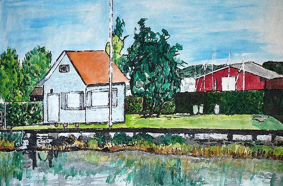 House By The Lake Painting