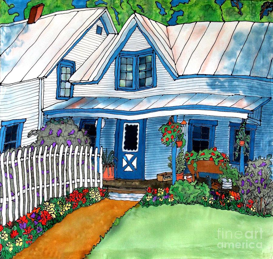 House Fence And Flowers Painting  - House Fence And Flowers Fine Art Print