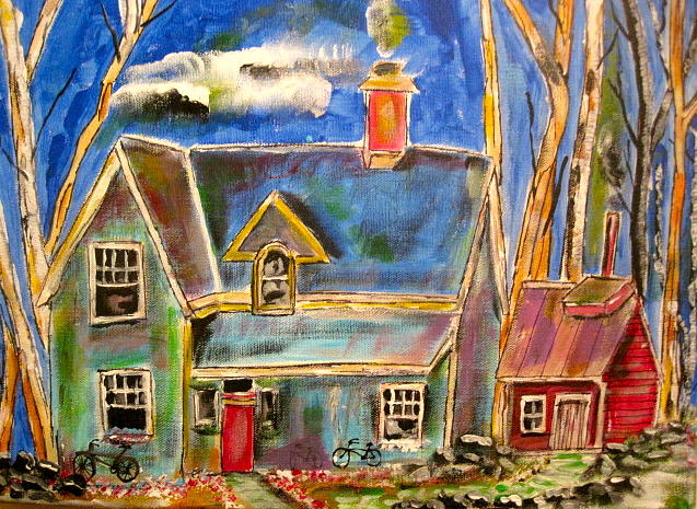 House In The Woods Painting