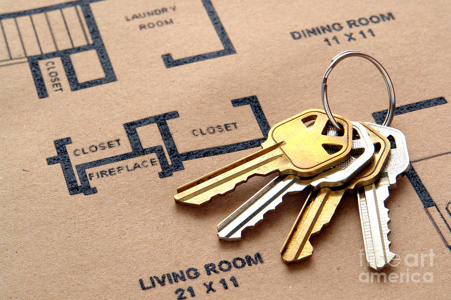 House Keys On Real Estate Housing Floor Plans Photograph  - House Keys On Real Estate Housing Floor Plans Fine Art Print