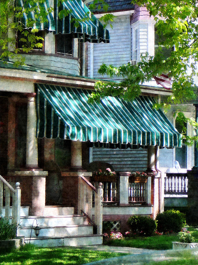 House With Green Striped Awnings Photograph