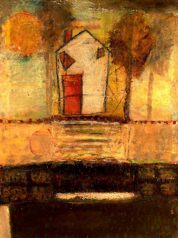 House With Red Door Mixed Media