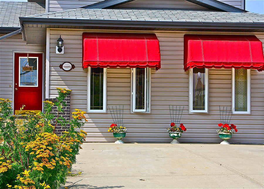 House With Red Shades. Photograph  - House With Red Shades. Fine Art Print