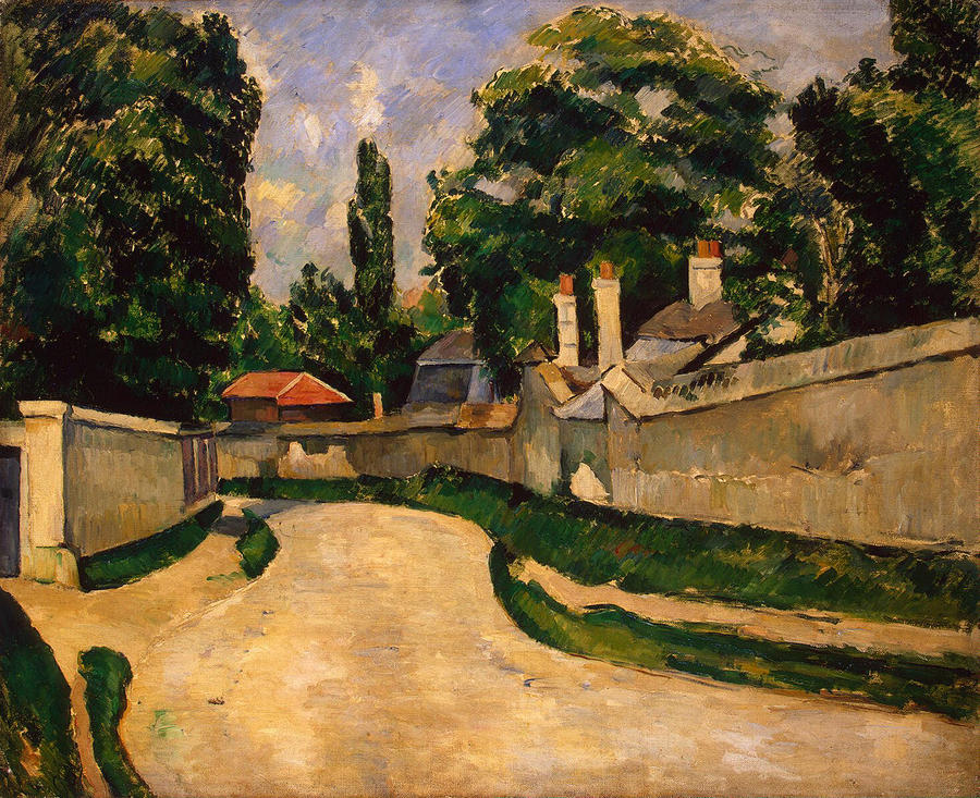 Houses Along A Road Painting