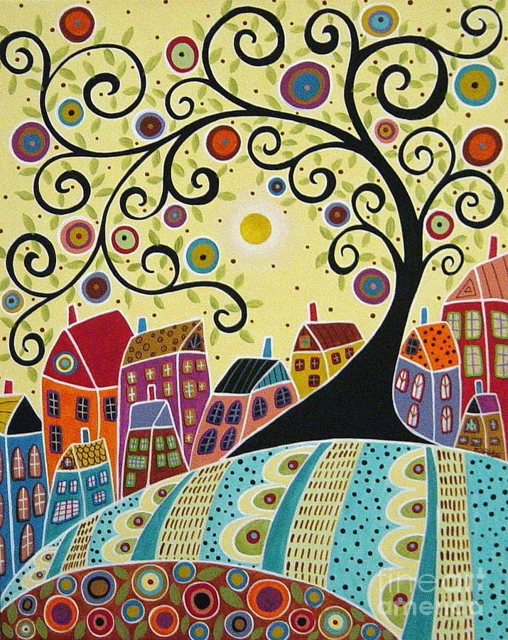 Houses And A Swirl Tree Painting