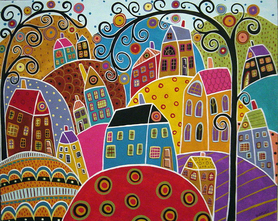Houses And Swirl Trees Painting