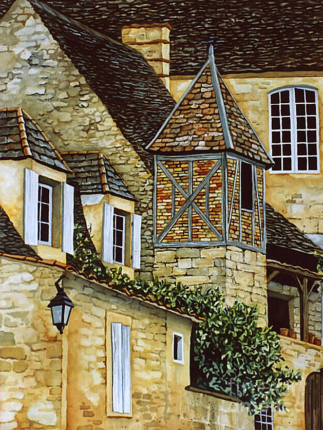 Houses In Sarlat Painting  - Houses In Sarlat Fine Art Print