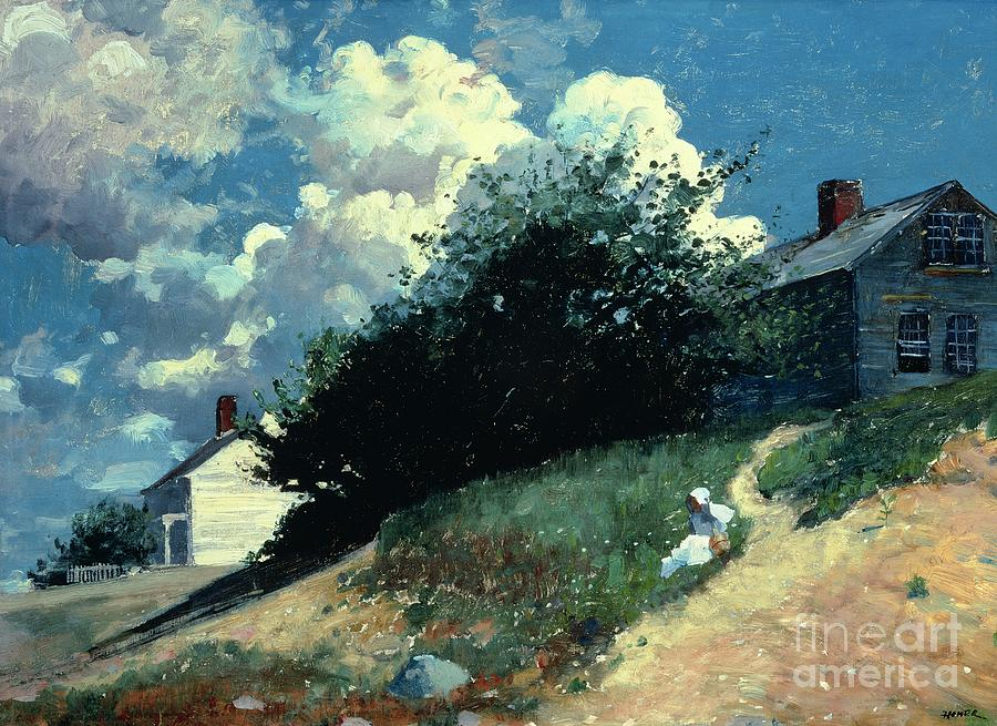 Houses On A Hill Painting