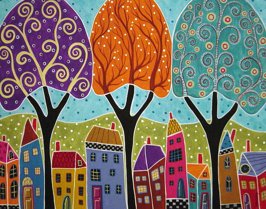 Houses Trees Folk Art Abstract  Painting  - Houses Trees Folk Art Abstract  Fine Art Print