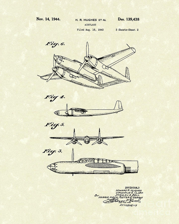 Howard Hughes Airplane 1944 Patent Art  Drawing