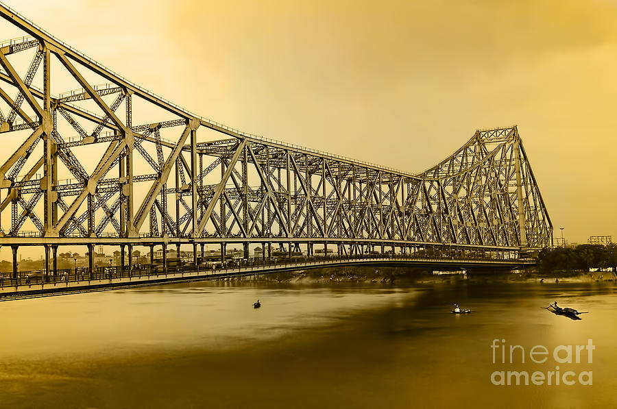 The Howrah Bridge Is A Cantilever Bridge That Spans The Hooghly River In West Bengal Photograph - Howrah Bridge by Mukesh Srivastava