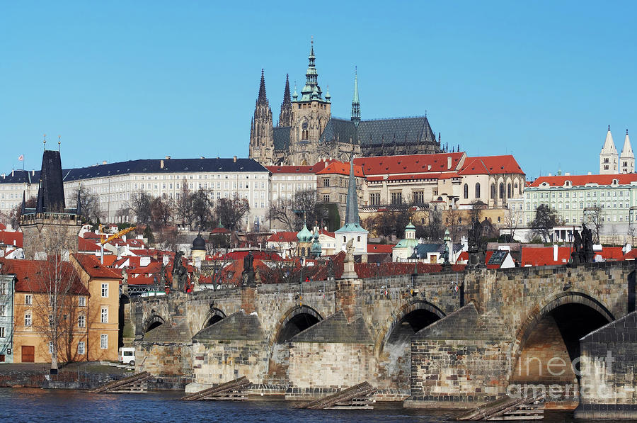 Hradcany - Cathedral Of St Vitus And Charles Bridge Photograph