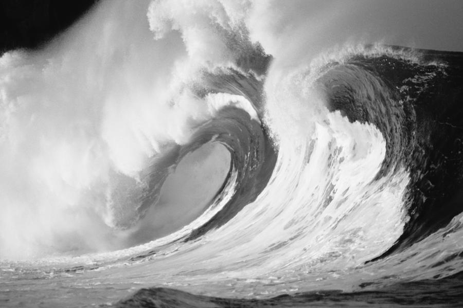 Huge Curling Wave - Bw Photograph