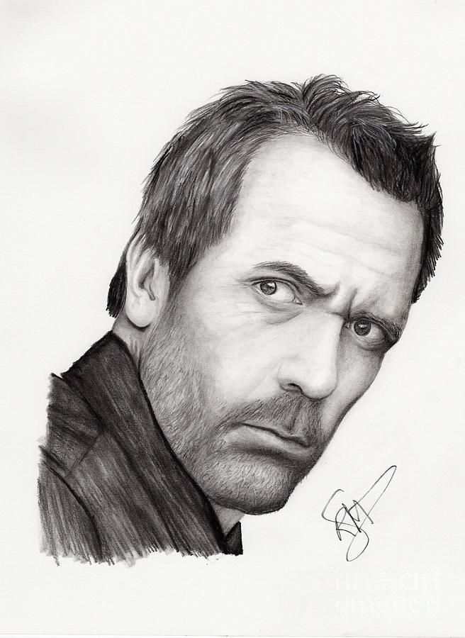 Hugh Laurie Drawing  - Hugh Laurie Fine Art Print