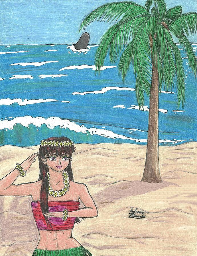 Hula Elf Girl Drawing  - Hula Elf Girl Fine Art Print