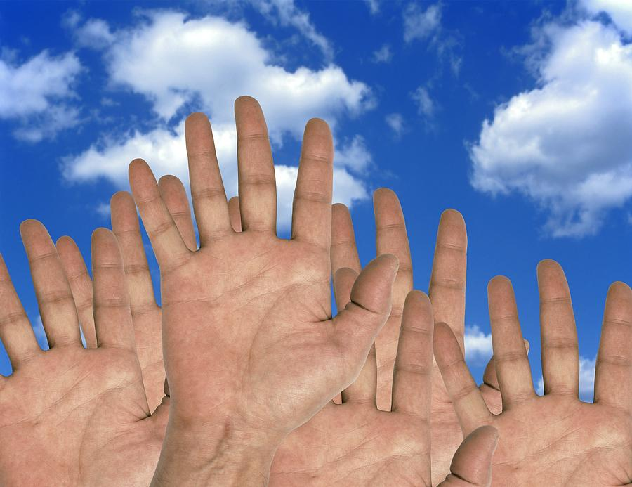 Human Hands And The Sky, Conceptual Image Photograph  - Human Hands And The Sky, Conceptual Image Fine Art Print