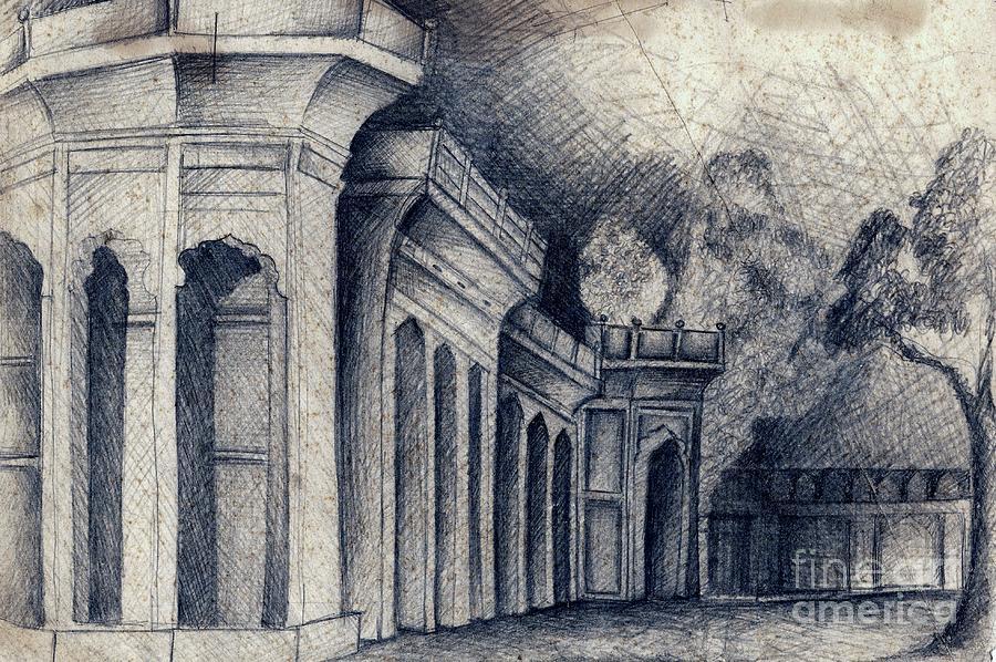 Humayun Tomb Drawing - Humayun Tomb by Rohinibhan Challu