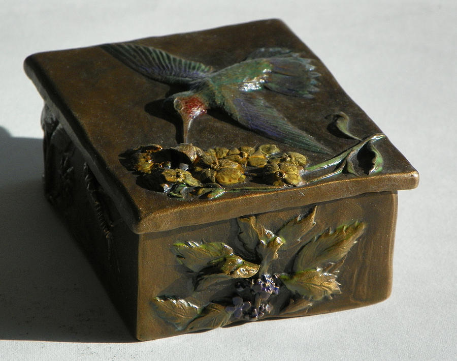 Hummingbird Box With Painted Patina - Wild Mint Side Sculpture