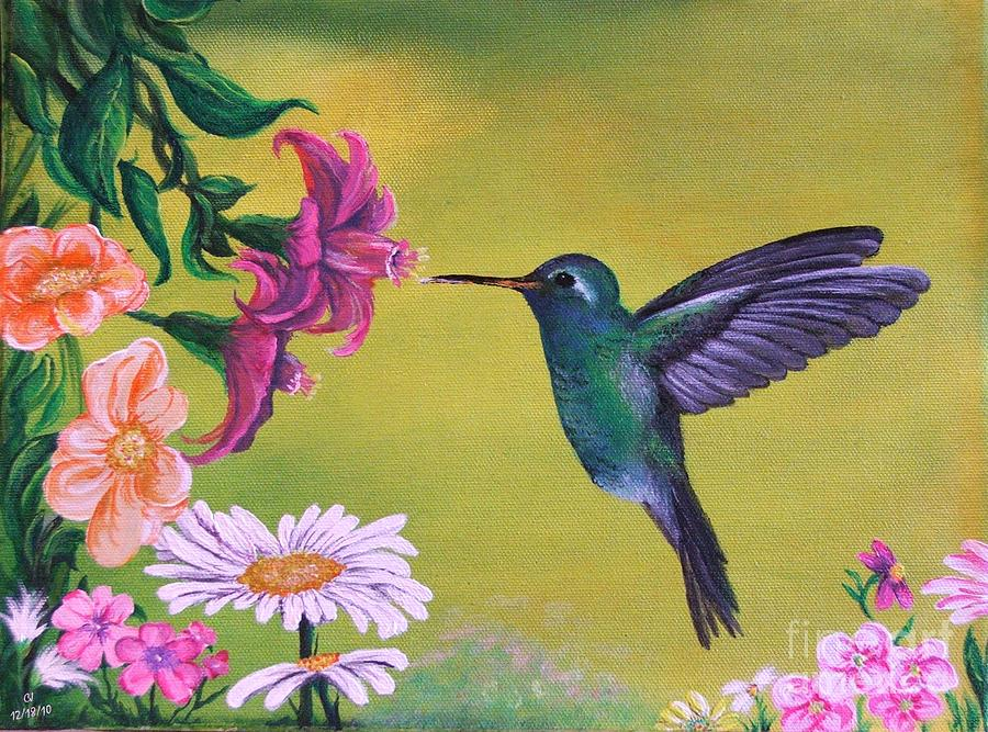 Hummingbird For Grandma - Painting by Cj