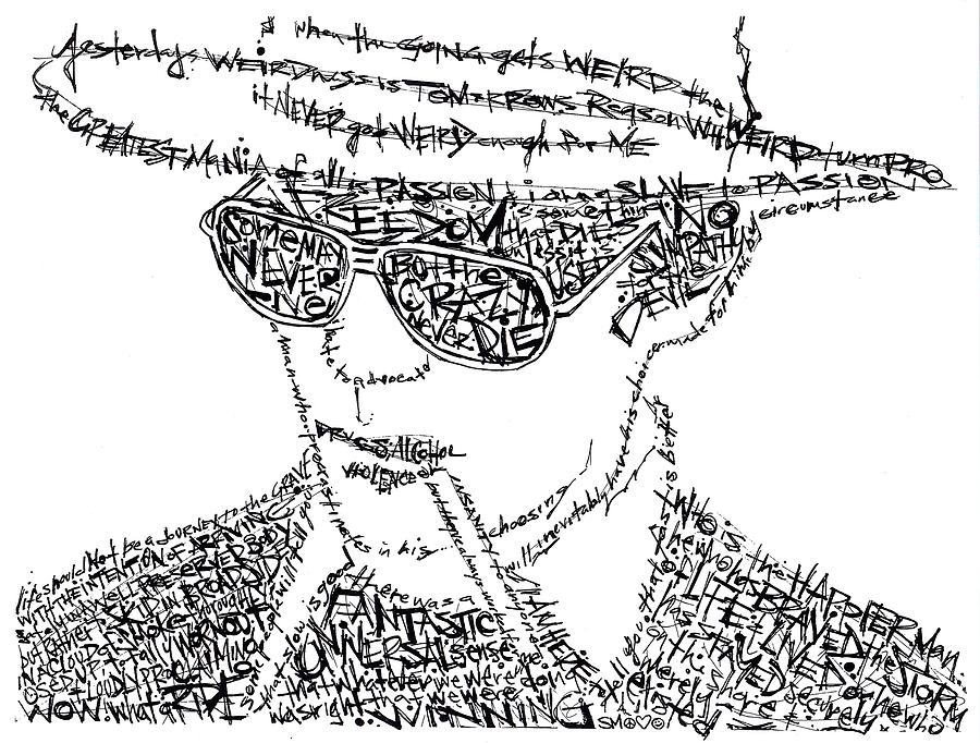 Hunter S. Thompson Black And White Word Portrait Drawing
