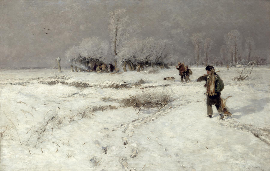 Hunting In The Snow Painting  - Hunting In The Snow Fine Art Print