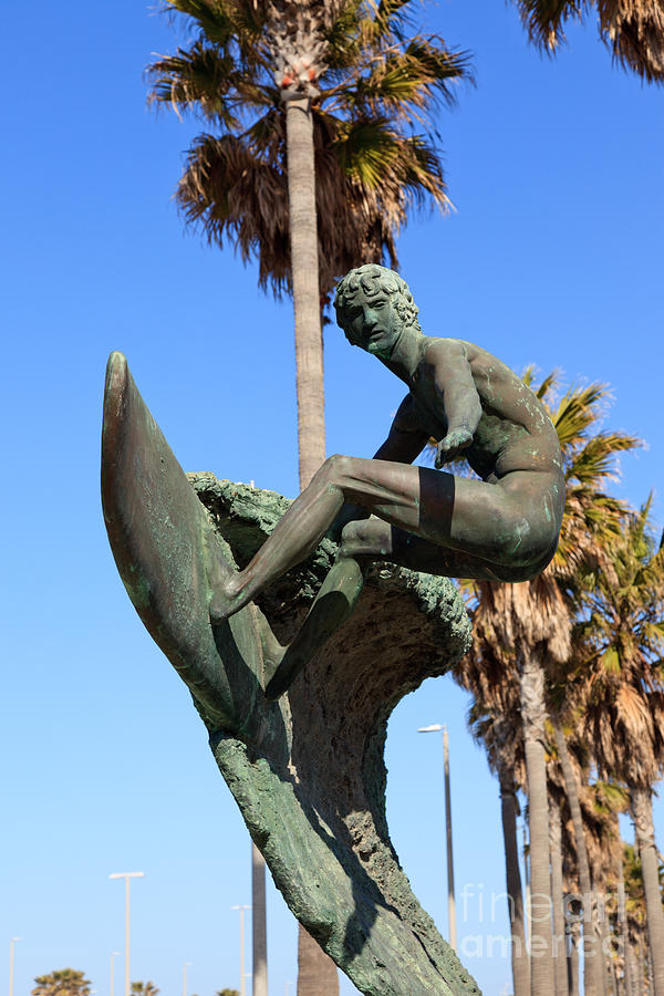 Huntington Beach Surfer Statue Photograph